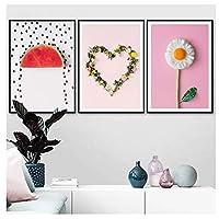 絵画 インテリア 北欧のモダンな家の装飾卵の花クリエイティブキャンバス絵画壁プリントキッチンリビングルームアートポスター-(70x90cm)x3pcsフレームレス