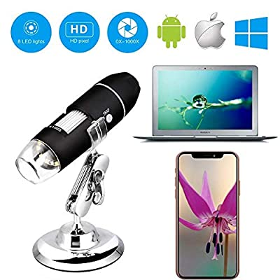 Wireless Digital WiFi USB Microscope 50X - 1000X Magnification Mini Handheld Endoscope Inspection Camera with 8 LEDs with Metal Stand, Compatible with iPhone, iPad, Android Smartphone, Mac, Windows