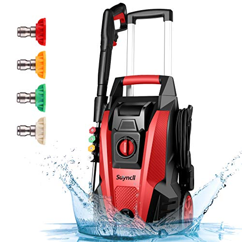 Power Washer, Suyncll Pressure Washer 3800 Max PSI 2000W Electric Portable High Pressure Cleaner Machine with 4 Nozzles, Detergent Tank , for Homes, Cars, Driveways, Fences, Patios (Red)