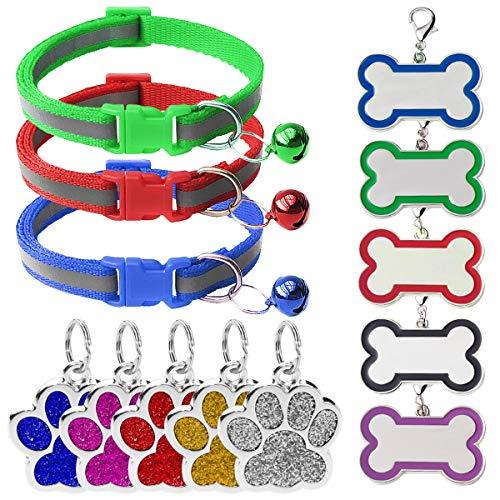 Zuzer 3pcs Collar Seguridad con 10pcs Placas de Identificación Etiquetas Mascotas Collar para Mascotas para la Mayoría de Los Perros y Gatos