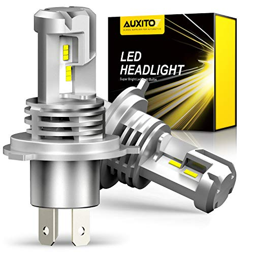 AUXITO H4 Hi/Lo LED Headlight, For Cars, 3 Year Quality Guarantee, Compatible with New Standard Vehicle Inspections, Equipped with ZES LED Chip, Introducing Incredible Genuine Halogen Sizes, 99% Compatible with High Brightness 12,000 LM (6,000 LM x 2), 6500K, Compatible with 12 V Vehicles (Compatible with Hybrid and EV vehicles), Constant Current, Long Life) Equipped with excellent heat dissipation. Silent Instant Start, Optical, Adjustable Frame, 2 Pack, White - M3H4