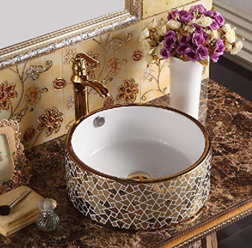 Waschbecken mit Mosaik-Muster, goldfarbene und weiße Keramik-Aufsatzwaschbecken, 410 x 410 x 165 mm