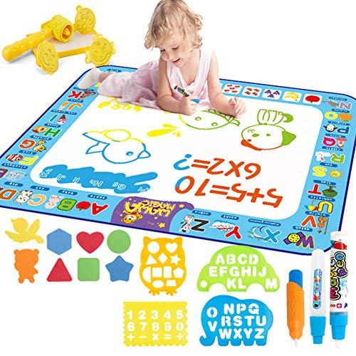 Water Doodle Mat Aqua tekening schilderij Mat groot 100 x 75cm rommel gratis leren speelgoed voor 2 3 4 5 6 jaar oude jongens meisjes peuters verjaardagscadeau, stempel set