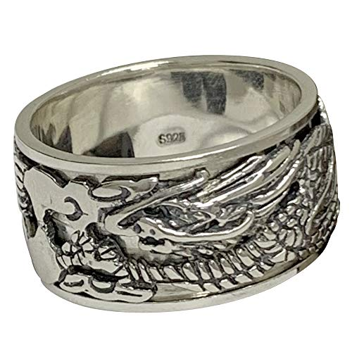 FORFOX Black Solid 925 Sterling Silver Chinese Dragon Ring Jewellery for Men Size Y