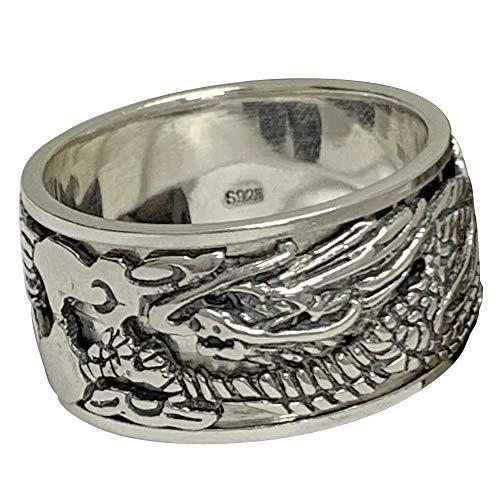 FORFOX Herren Damen Schwarz 925 Sterling Silber Chinesischen Drachen Spinner Ring Band Schmuck 12mm Größe 68