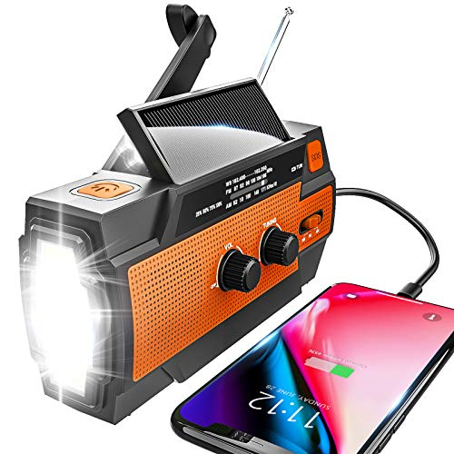 Emergency Radio Hand Crank Solar, 4000mAh Portable Weather Radio, NOAA Weather Radio, Outdoor Radio with Flashlight & Motion Sensor Reading Lamp, Solar Cell Phone Charger, SOS Alarm(Orange)