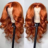 ANDRIA Ginger Wig Short Bob Lace Front Wigs Glueless Orange Red Natural Wave Synthetic Heat Resistant Fiber Hair Wig With Baby Hair Plucked Hairline For Black Women Wavy Shoulder Length Wigs 14 Inch