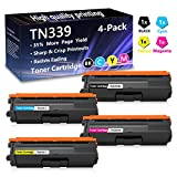 4 Pack (1BK+1C+1M+1Y) TN339 Super High Yield Toner Cartridge Replacement for Brother 9460CDN MFC 8600CDW L8600CDW L8650CDW L9550CDW DCP 9050CDN 9270CDN L8400CDN HL L8250CDN L8350CDW L9200CDW Printers.
