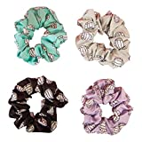 Happie Hare Scrunchies - Cotton Rounds Elastic Hair Bands - Scrunchy Hair Ties - Girls Hair Accessories - Gifts for Women (4 Pack, Volleyball Sport Scrunchie)