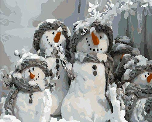 DoMyArt Paint by Number Kit with Acrylic Pigment On Canvas for Adults Beginner - Christmas Snowman 16X20 Inch