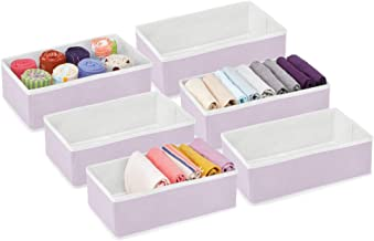 mDesign Rectangular Soft Fabric Dresser Drawer and Closet Storage Organizer Bin for Lingerie, Bras, Socks, Leggings, Cloth...
