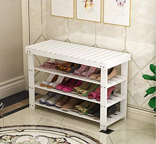 N/Z Home Equipment Shoe Rack Natural Wooden Simple Shoe Rack Storage Rack Storage Rack Multi Layer Replacement Shoe Stool Multi Function Storage Rack (White) (Color : A Size : 80cm)