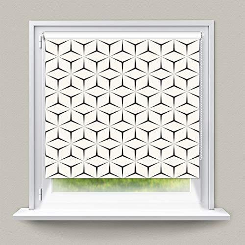 YOGUR66 Cortinas térmicas opacas enrollables, resistentes al agua, sin costuras, patrón geométrico, impresión simple, repetición en T y UV, persianas venecianas verticales, recortables para bricolaje