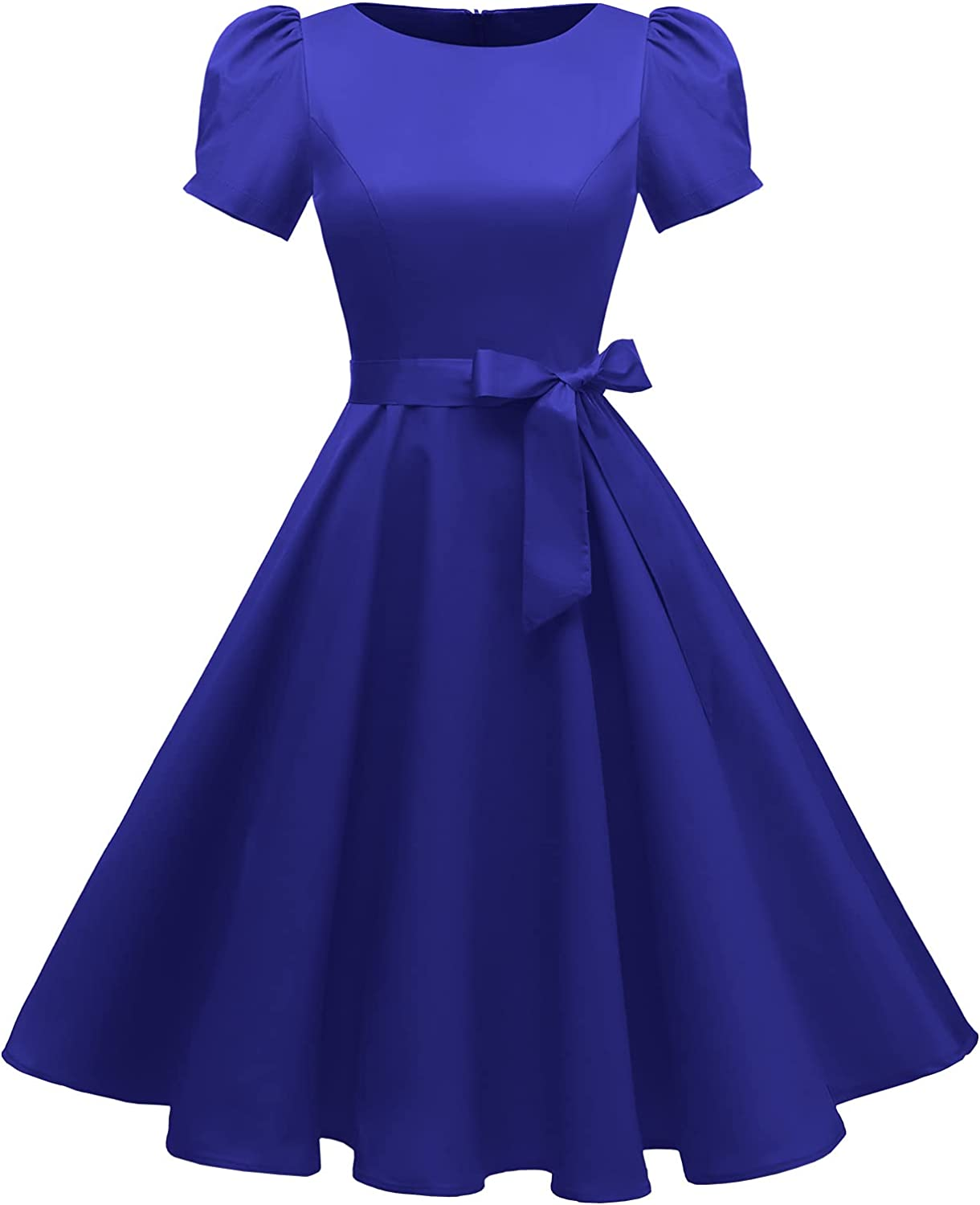 tagunop Women's Boatneck Vintage 1950s Cocktail Party Dress with Puff Sleeves