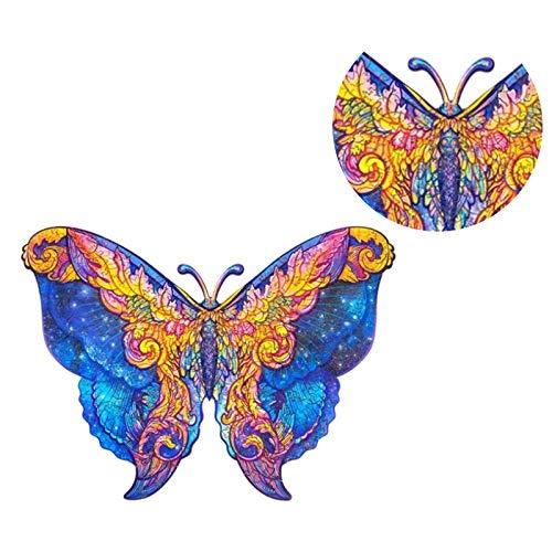 Younoo Log Holzpuzzles für Erwachsene 107Teile, Schmetterling, einzigartiges Puzzlespiel Animal Design, unregelmäßig geformtes Puzzlespielzeug für Kinder Familie DIY Puzzle Blöcke Kit
