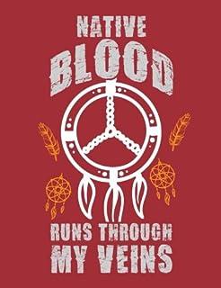 Graph Paper Notebook: Native Blood Runs Through My Veins, 4x4 Quad Rule Graph Paper - 7.44 X 9.69