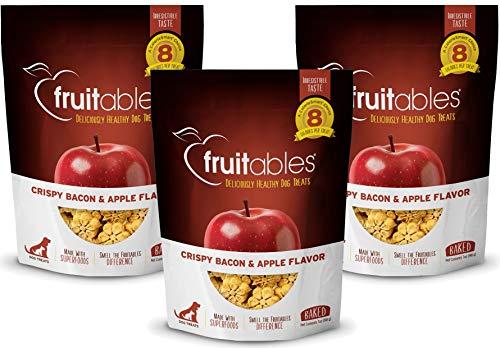 Fruitables 7 Ounce Crunchy Baked Dog Treats Baked Bacon Apple Flavor Pack of 3