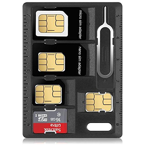 SIMカード&MicroSDホルダー2リリースピンAFUNTA2パックカード収納ケースマイクロナノMicro-SDメモリーカードケース2つSIM用交換ピン