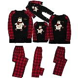 2021 Pijamas de Navidad Familia Conjunto Pantalon y Top Pijamas Mujer Hombre Impresión a cuadros Man...