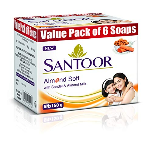 Santoor Sandalwood and Almond milk Organic Soft Bath Soap for Softer, Smoother and Moisturised Skin, Combo Offer 150 g pack of 6