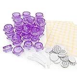 JZK 40 x 3g 3ml púrpura pequeños macetas envases vacíos con Tapa para Muestra cosmética, contenedores Botellas de Viaje para Crema cosmética, bálsamo Labial, Gel, Polvo de Brillo