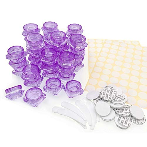 JZK 40 x Plastique Violet Transparent contenants vides cosmétiques 3ml 3g Petite boîte flacons pour échantillons de crème, baume à lèvres, Petits Pots de Voyage