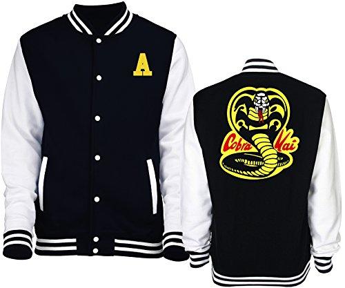 New Indastria Giacca/Felpa Unisex Varsity Tipo College Karate Kid Kobra Kai M-Nera