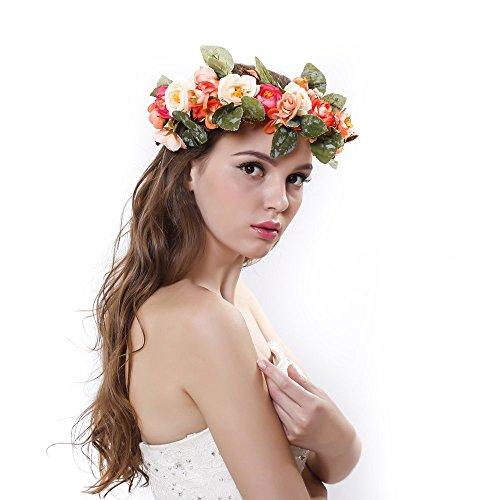 Natural Reeds Rose Flower Crown with Adjustable Ribbon for Wedding Festivals