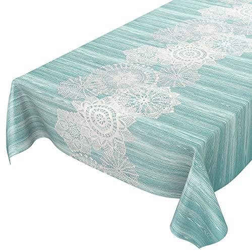 ANRO Wachstuch Tischdecke abwaschbar Wachstuchtischdecke Wachstischdecke Holz mit Häkelspitze-Läufer Türkis 100x140cm