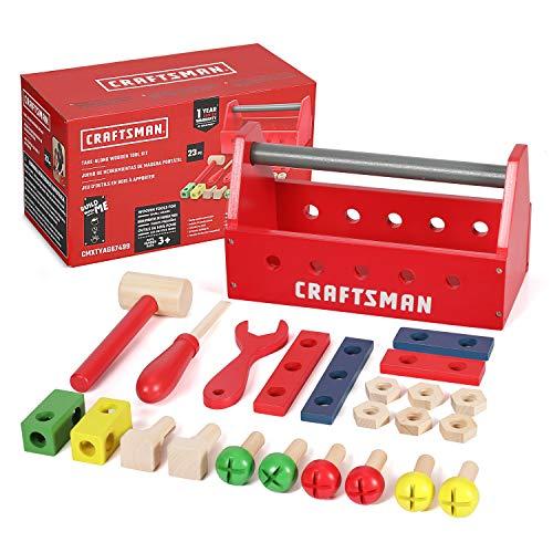 Craftsman 23pcs Take-Along Wooden Tool Kit, Building Toy Set...