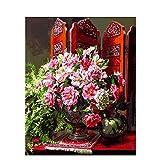 RGWSDJ Peinture numérique Adulte Bricolage Paravent Chinois Fleur Décoration de la Maison Lin...
