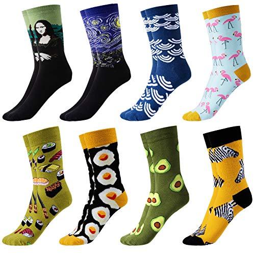 GuKKK Calcetines Estampados, 8 Pares Calcetines Hombres Mujer Divertidos, Calcetines Algodon Estampados Impresos de Pintura de Arte, Ocasionales Calcetines Divertidos, Calcetines de Colores (8-6)