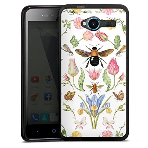 DeinDesign Silikon Hülle kompatibel mit ZTE Blade L3 Hülle schwarz Handyhülle Blumenkranz Biene Blüte