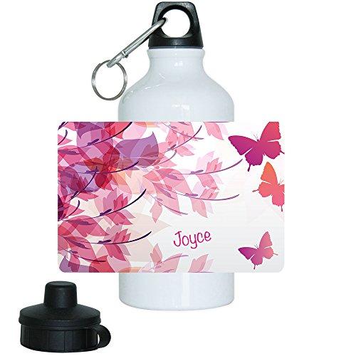 Trinkflasche mit Namen Joyce und süßem Schmetterling-Motiv für Mädchen