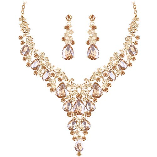 Paxuan Silver Gold Wedding Bridal Bridesmaid Austrian Crystal Rhinestone Jewelry Sets Statement Choker Necklace Drop Dangle Earrings Sets for Wedding Party Prom (Champagne)