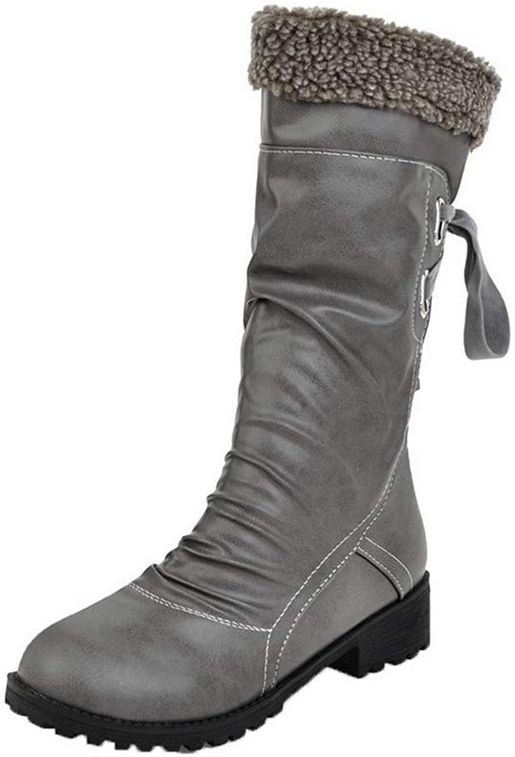 WeiPoot Women's Low-Heels Solid Round-Toe Pu Lace-Up Boots, EGHXH017314