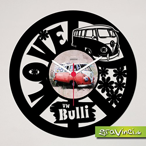 Gravinci.de Schallplatten-Wanduhr VW Bulli Love & Peace