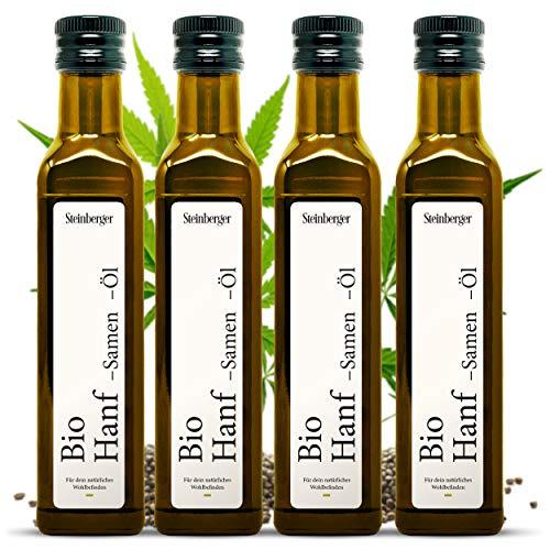 Bio Hanföl 1Liter (4x250ml) Glasflasche mit Dosierer | 100% rein & kaltgepresst | Mit nussigem Geschmack aus nachhaltigem Anbau