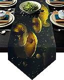 Camino de mesa de setas de 33 x 228 cm para decoración de mesa de comedor, plantas, hongos brillantes esporas de hongos