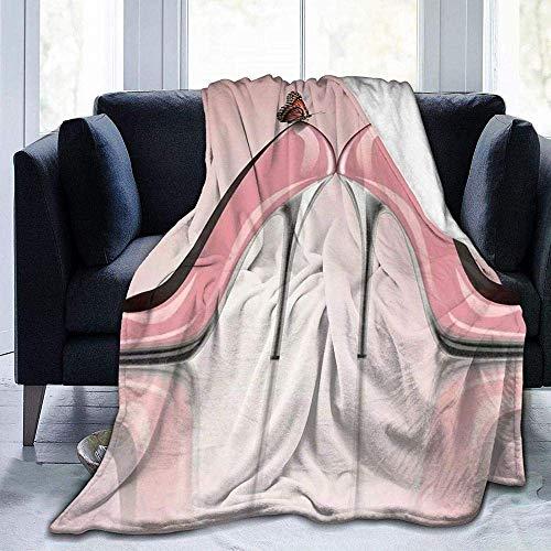 Colcha de calidad cálida y suave y versátil, con forro polar muy cálido, zapatos de tacón alto, con estampado de mariposas, para dormitorio, sala de estar, sofá, cama, 152 x 127 cm