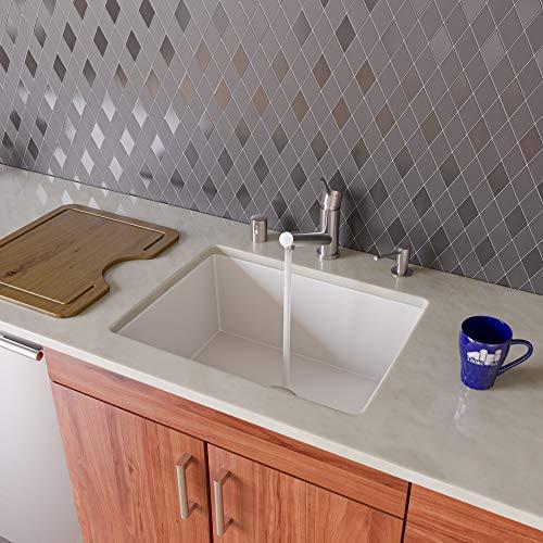 "ALFI brand AB2420UM-W Undercount Single Bowl Granite Composite Kitchen Sink, 24"", White"
