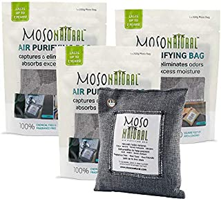 MOSO NATURAL Air Purifying Bags. Odor Eliminator and Odor Absorber. (3) Individually Sealed 200g Charcoal Deodorizer Bags.