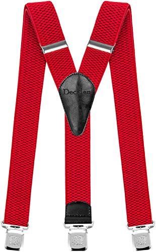 Decalen Hosenträger für Herren breit extra starken Clips Y Form Lang Eine Größe Passt Alle Männer und Damen Verschiedenen Farben (Rot)