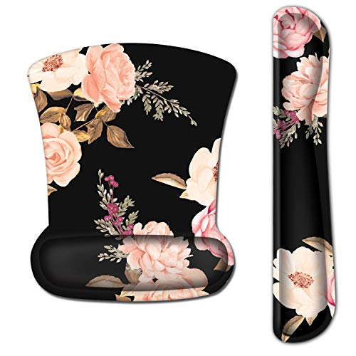 EkuaBot Pink Flower Keyboard Wrist Rest Pad & Mouse Wrist Rest Support Pads Set for Computers & Laptop, Made of Memory Foam, Soft and Breathable, Ergonomic Design, Non-Slip Rubber Base, Easy Typing
