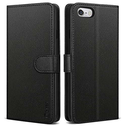 Vakoo Wallet Serie Handyhülle für iPhone 6 Plus Hülle, iPhone 6S Plus Hülle, Schwarz
