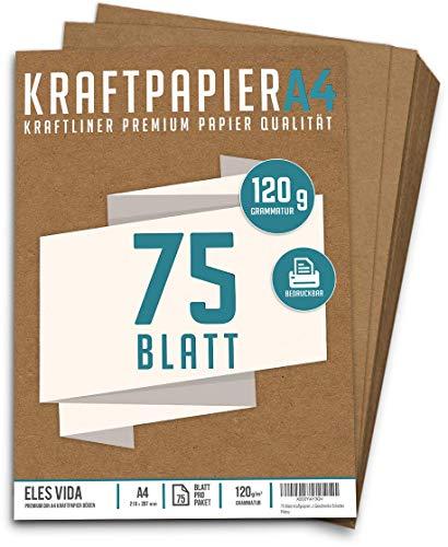 75 Blatt Kraftpapier A4 Set - 120 g - 21 x 29,7 cm - DIN Format - Bastelpapier & Naturkarton Pappe Blätter aus Kraftkarton zum Drucken, Kartonpapier Basteln für Vintage Hochzeit Geschenke Etiketten
