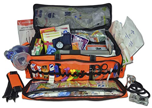 Lightning X O2 Trauma Bag w/EMT First Responder Stocked Fill Kit D - Orange
