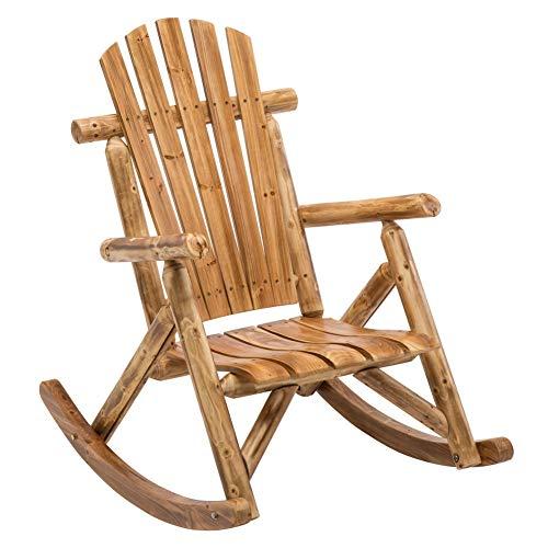 DJL Antique Wood Outdoor Rocking Log Chair Wooden Porch Rustic Log Rocker