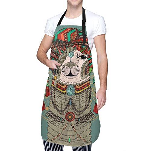 DAHALLAR Ajustable Colgante de Cuello Personalizado Delantal Impermeable,Sombreros coloridos con llama con accesorios, pendientes, collar, animal abstracto,Babero de Cocina Vestido con 2 Bolsillos
