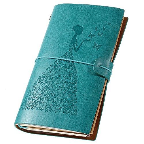 Leather Travel Journal for Women, Refillable Travelers Notebook Vintage Journal for Women with Line Paper + 1 PVC Zipper Pocket + 18 Card Holder 4.7 X 7.9in (Blue)